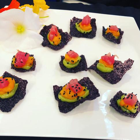 Tuna/ Avocado Wasbi Mousse/ Carrot Puree/ Black Rice Cracker