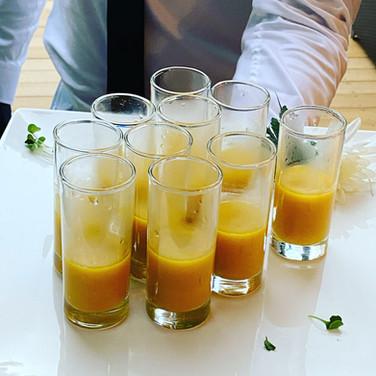 Pumpkin Ginger Soup Shooters | Coconut Milk, Sage Oil