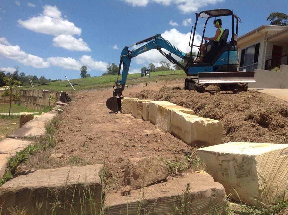 Rock wall build and turf prep