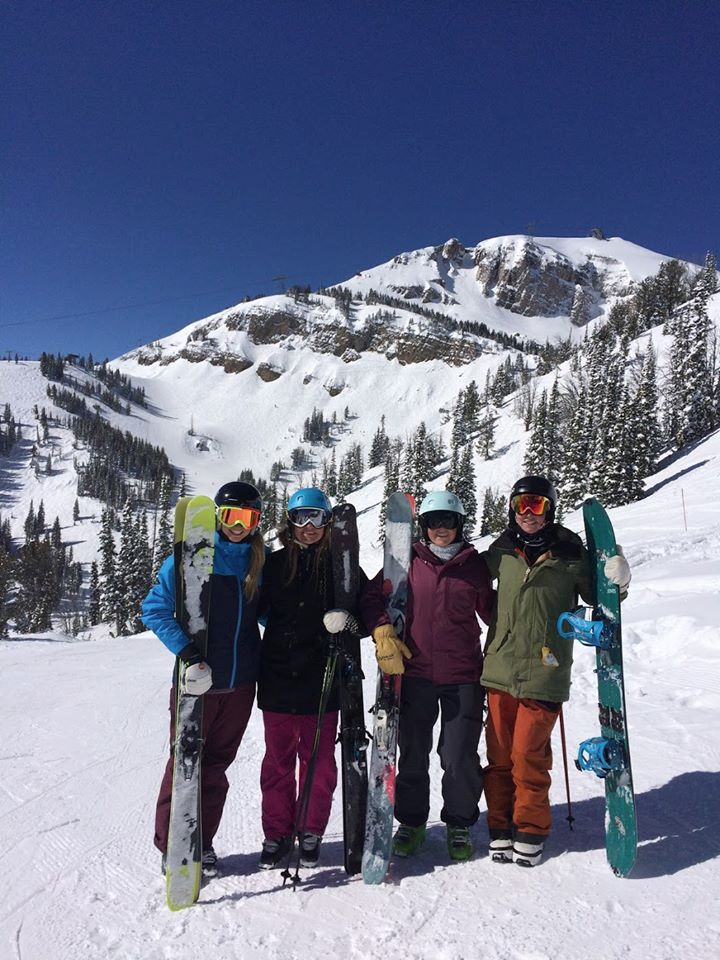 Some of the ladies of DU Freeride at Jackson Hole. 2017. Photo: Jill Thomas.