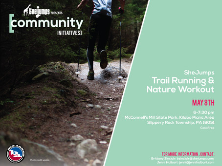 SheJumps trail running and nature work out May 8th
