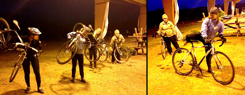 Eryn teaches us how to mount our bikes while in motion and pick up our bikes to run over obstacles.