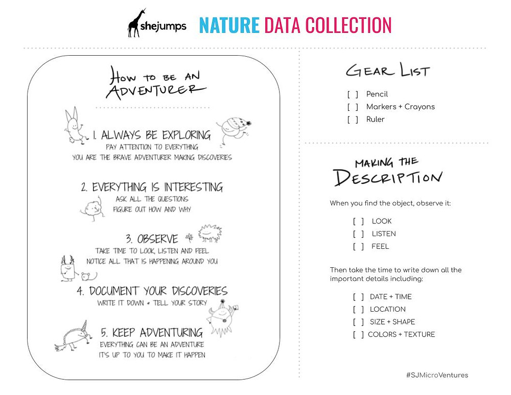 nature data collection printable PDF with plant identification