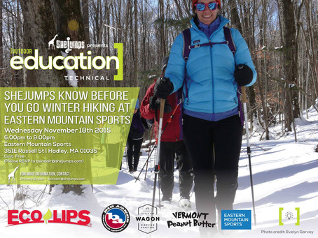 SheJumps Know before you go Winter Hiking at Eastern Mountain Sports November 18th
