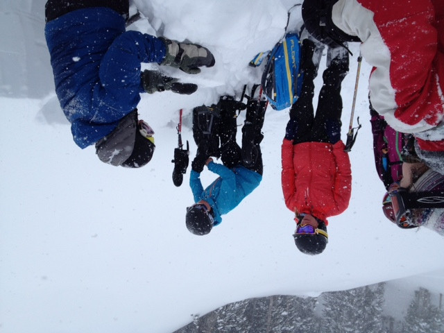 The UAC's Evelyn Lees shows a group a persistent layer in the snow