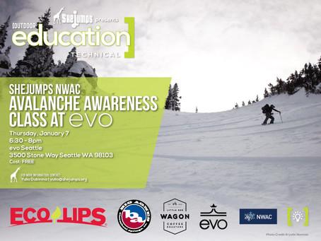SheJumps NWAC Avalanche Awareness Class at evo