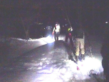 Moonlight Ski/shoe the Long Trail and down Bromley recap