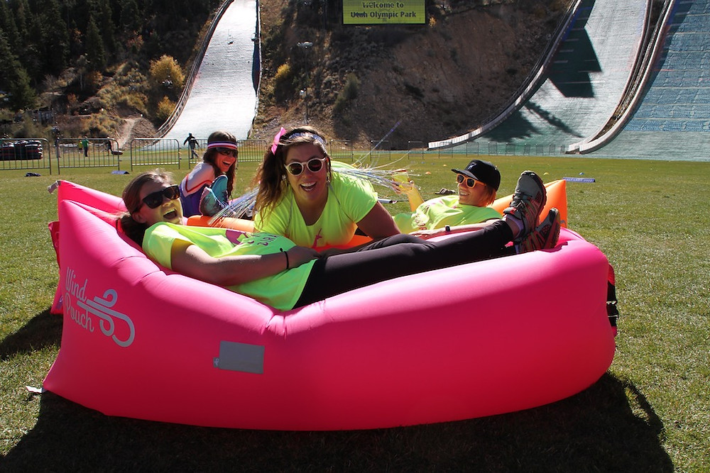 Our volunteers having fun on the Wind Pouches--these were great spots for the girls (and adults) to sit and learn!