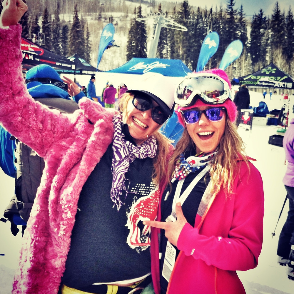 Melissa Matz and Lynsey Dyer circa 2013 at Get the Girls Out in Vail.