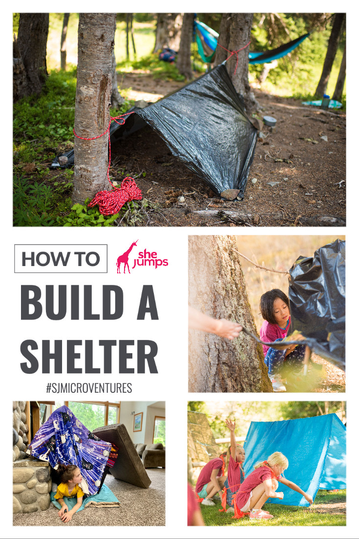 Pinterest image collage on how to build a shelter by SheJumps