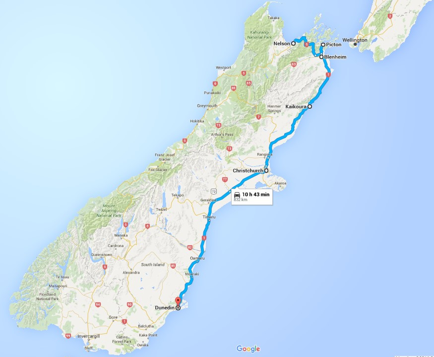 An outline of the stops taken while hitchhiking. Starting at Nelson, to Picton, Blenheim and then 	to Kaikoura on the first day. The second day starting in Kaikoura, heading to Christchurch then arriving in Dunedin. Map by Anna Bernard, courtesy of Google Maps, 2016.
