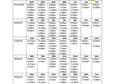 SMR FITNESS MARCH OPENING TIMES & SMR30 CLASS TIMETABLE