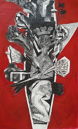 Serie Los Emigrantes II, acrílico-carboncillo sobre tela, 150cm.x 90cm.  2016 (3).jpg