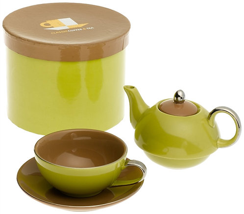 TEA FOR ONE WITH SAUCER  GREEN / BROWN