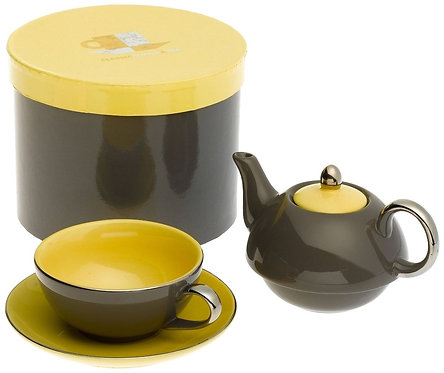 TEA FOR ONE WITH SAUCER DARK GREY / YELLOW