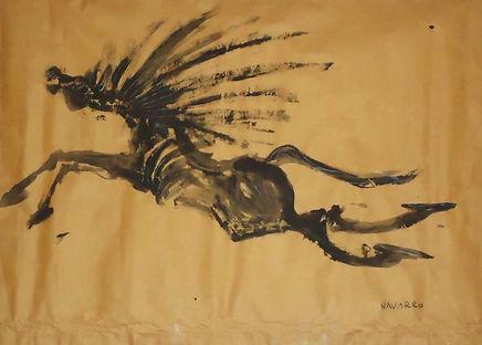 ST (Caballo negro), 43.5 x 61, Acrílico