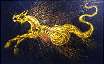 (Caballo amarillo en tapiz azul). 139 x