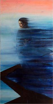El camino del viento lleva al mar, 189 x 89 cm, Mixta (óleo, tintas, pigmentos, cera, acrí