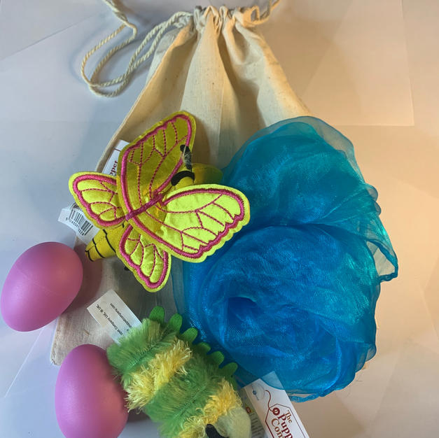 Caterpillar and Butterfly Story Bag blue £12.99