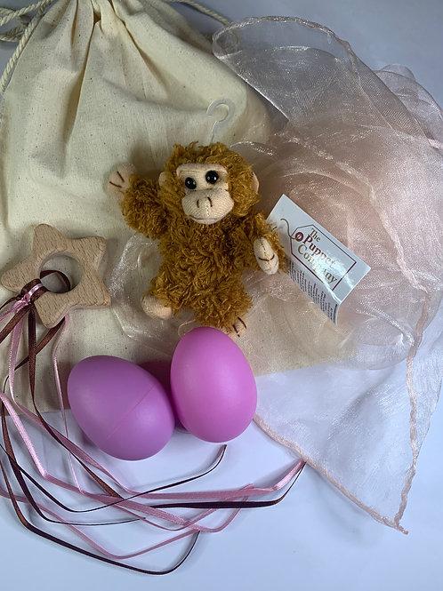 Baby Boo Sensory Bag Monkey pink