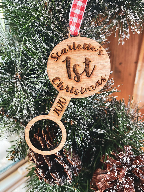 Wood Ornament - Baby's First Christmas