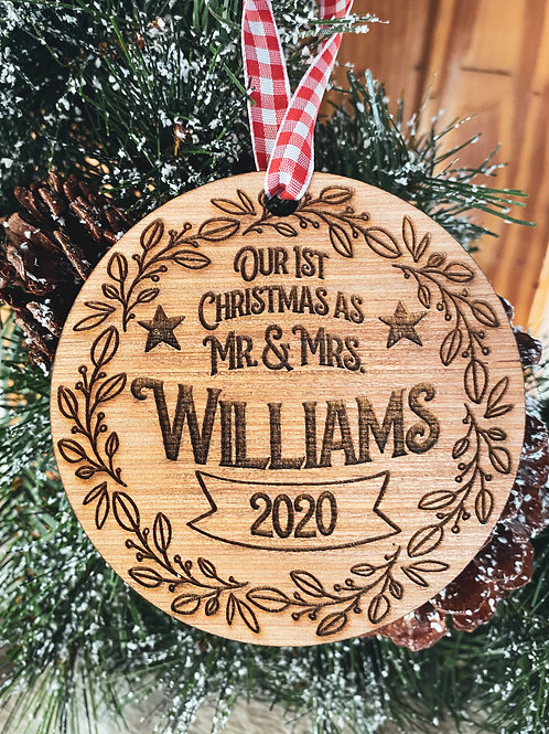 Wood Ornament - First Christmas as Married Couple