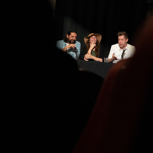 Viewing Party - Austin Film Society - Photo Fantastico 2019 - Our 3 judges deliberating.