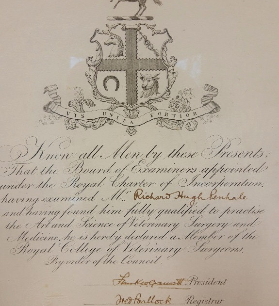Richard Huge Penhale Certificate
