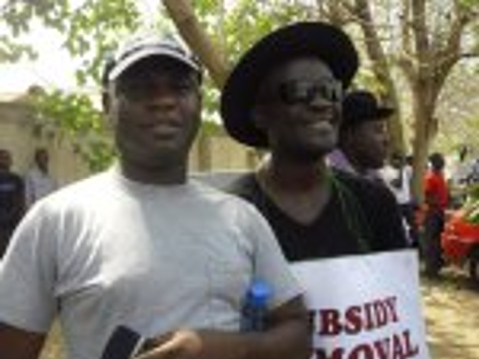 Mom and Mike Utsaha at Occupy Nigeria protest
