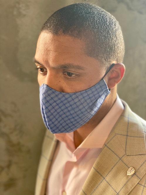 Sky Blue Mini Check Standard Mask