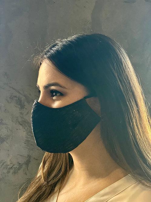 Gold/ Navy Lurex Brocade Standard Mask