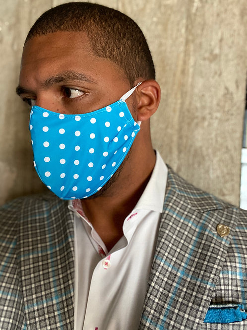 Teal Dot Standard Mask with Monogram