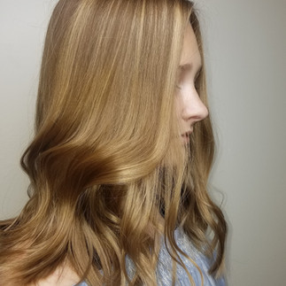 first set of highlights to enhance her natural color