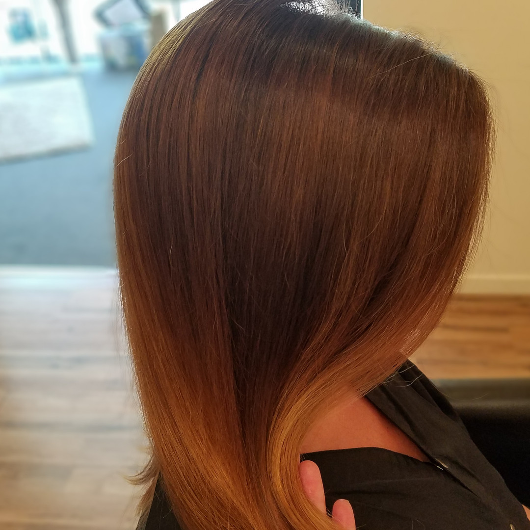lighter ends blended with red tones
