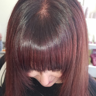 bangs with a shine line