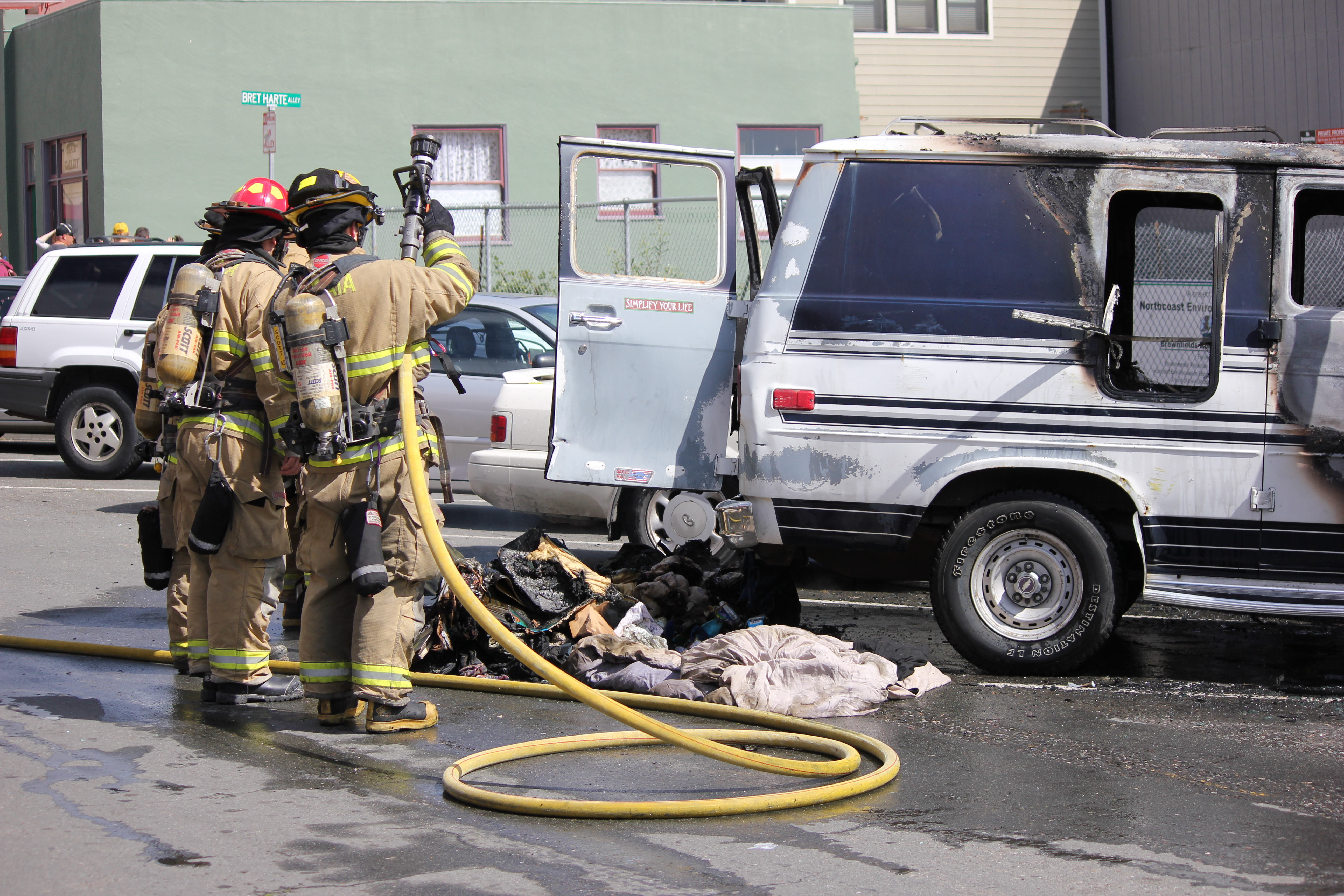 Vehicle Fire off of the Arcata Plaza