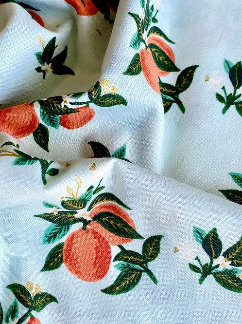 PRIMAVERA Citrus Blossom - Orange Metallic Fabric
