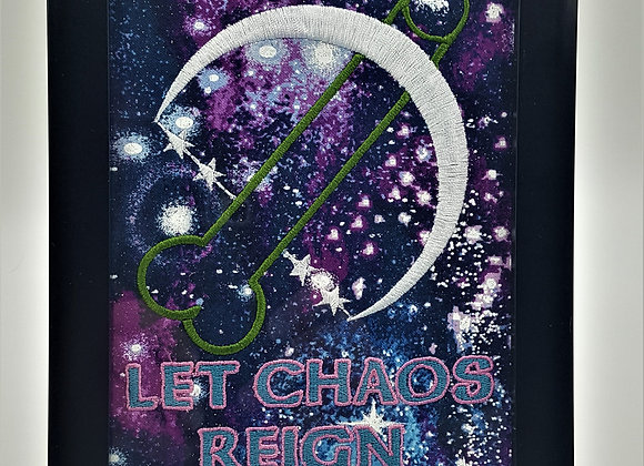 Let Chaos Reign Framed Embroidery Art