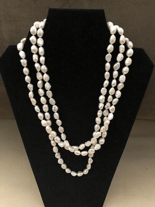 """Pink Baroque Freshwater Pearl 64"""" Opera length 6.5-10.5mm"""