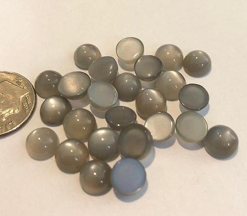 Silver Moon Stone w/Cat's Eye 7mm 5pcs