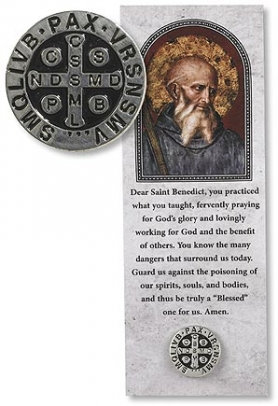 St Benedict Lapel Pin with Bookmark