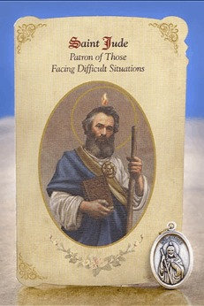 St Jude Healing Holy Card with Medal