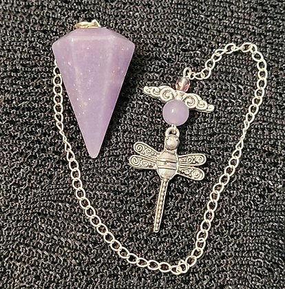 Lepidolite Faceted Dragonfly Pendulum