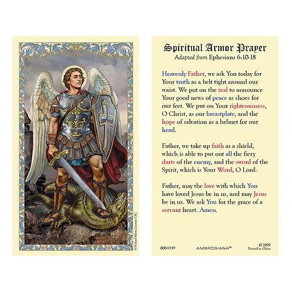 St Michael Spiritual Armor Prayer Holy Card