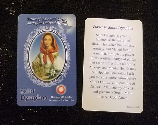 St Dymphna Holy Card with Relic