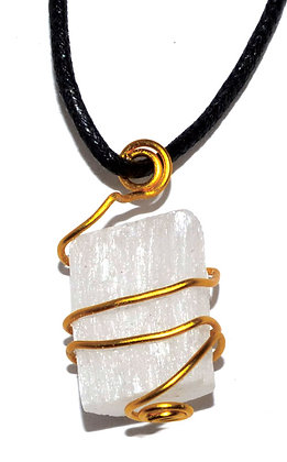 Selenite wire wrapped necklace