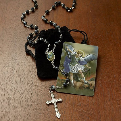 St. Michael Rosary with Case  (blessed)