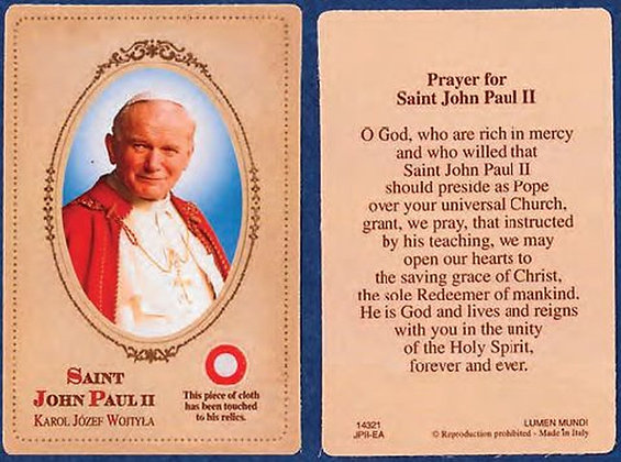 St John Paul II Relic Holy Card