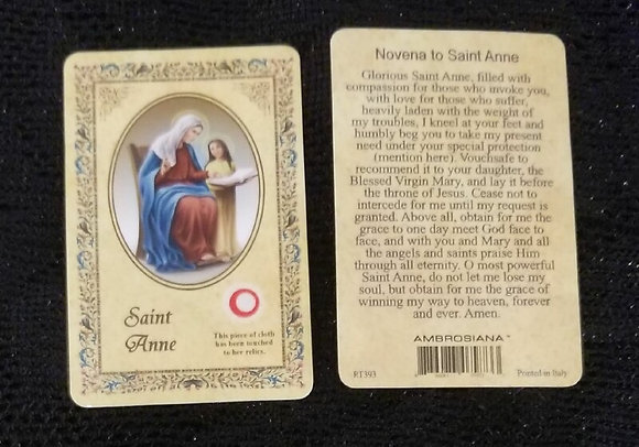 St Anne Card with Relic