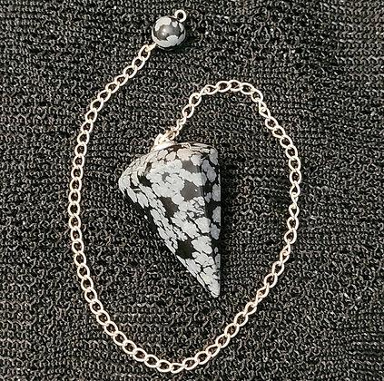 Snowflake  Obsidian Faceted Pendulum